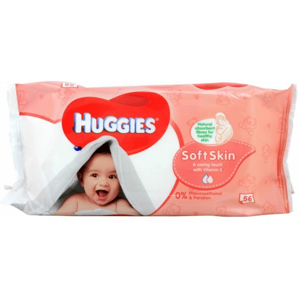 Huggies Бебешки мокри кърпички Soft Skin 56 бр.